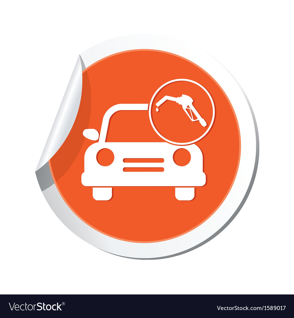 Car with fast refueling icon orange label vector | Price: 1 Credit (USD $1)