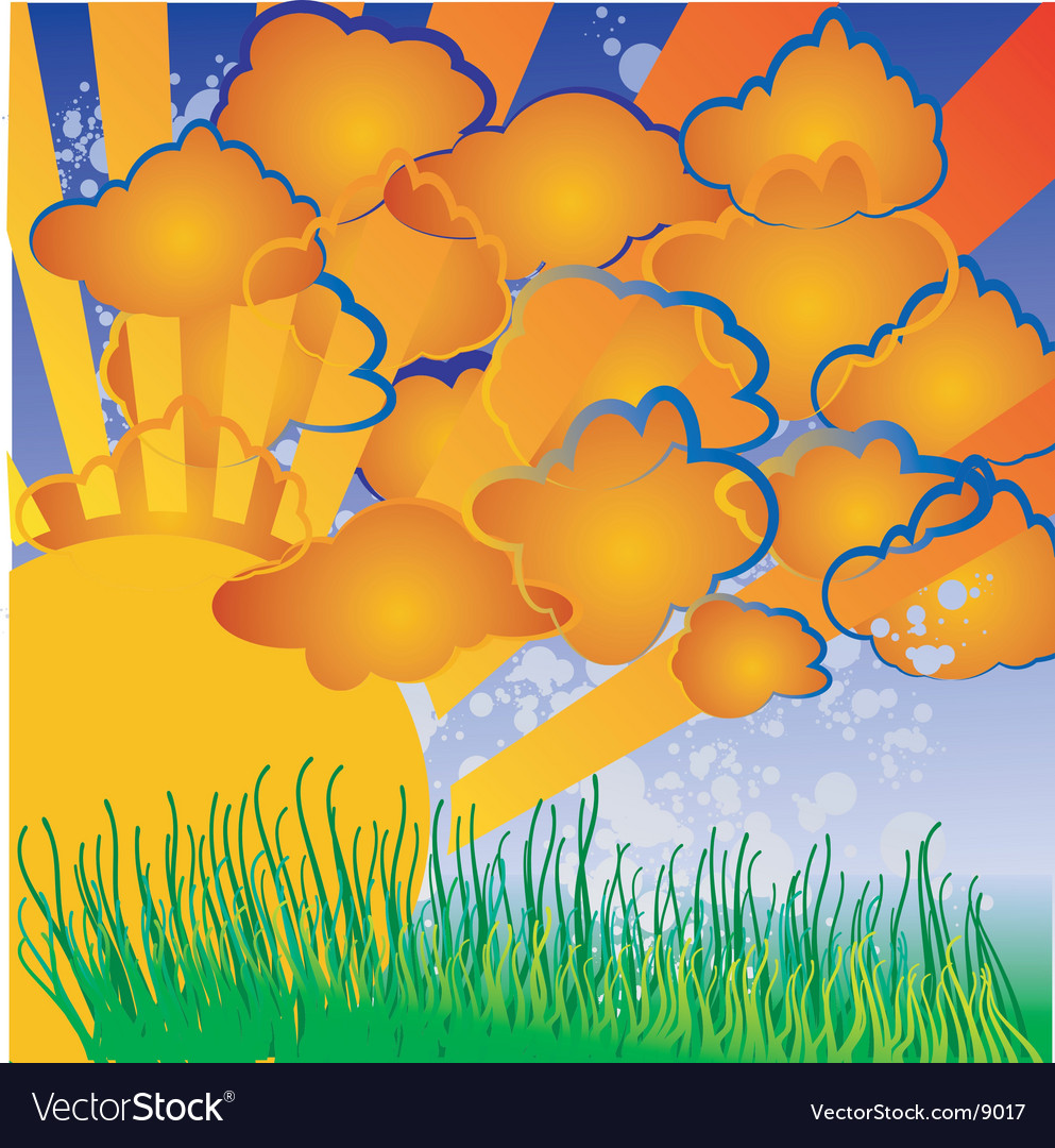Cartoon nature sun clouds grass vector | Price: 1 Credit (USD $1)