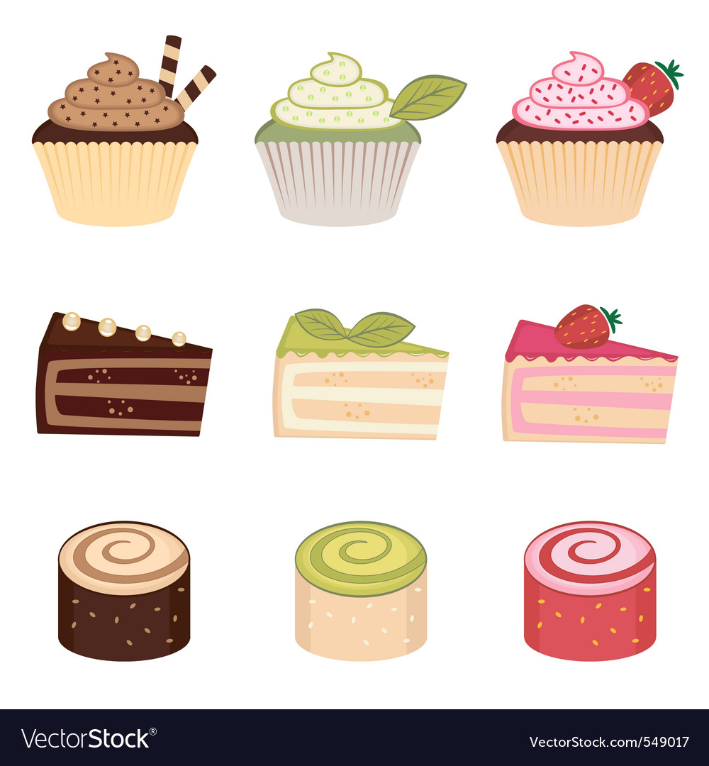 Colorful desserts set vector