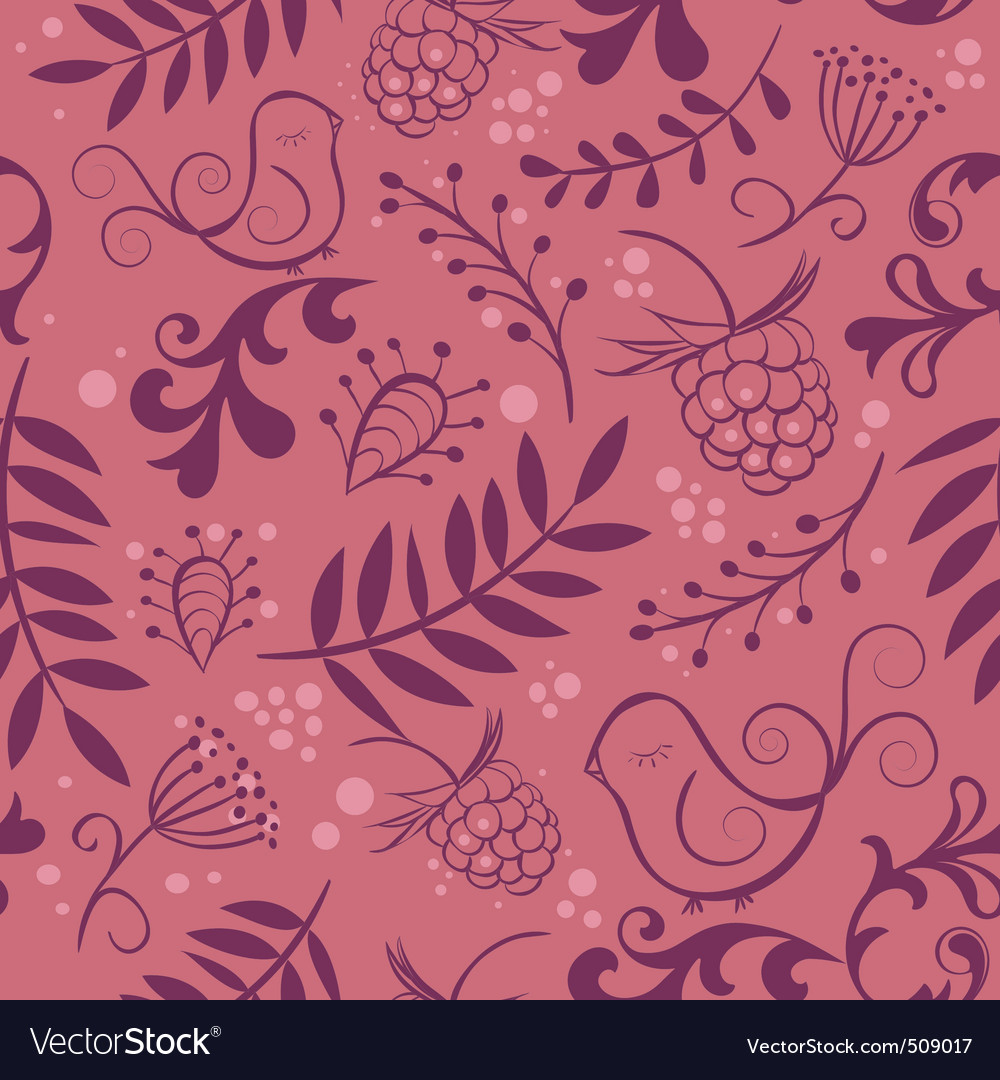 Cute seamless background with bird and berry vector | Price: 1 Credit (USD $1)