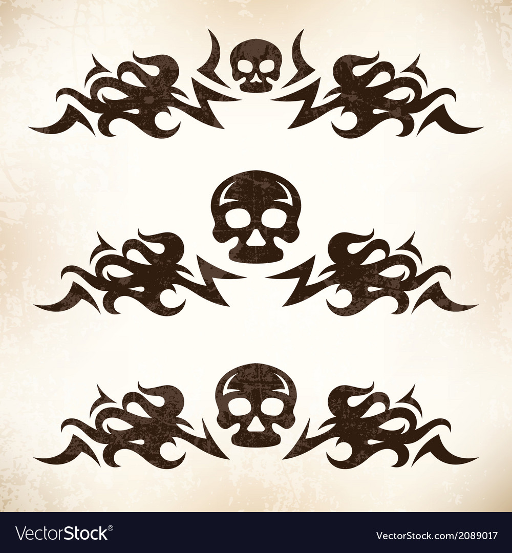 Design elements with flame and skull vector | Price: 1 Credit (USD $1)