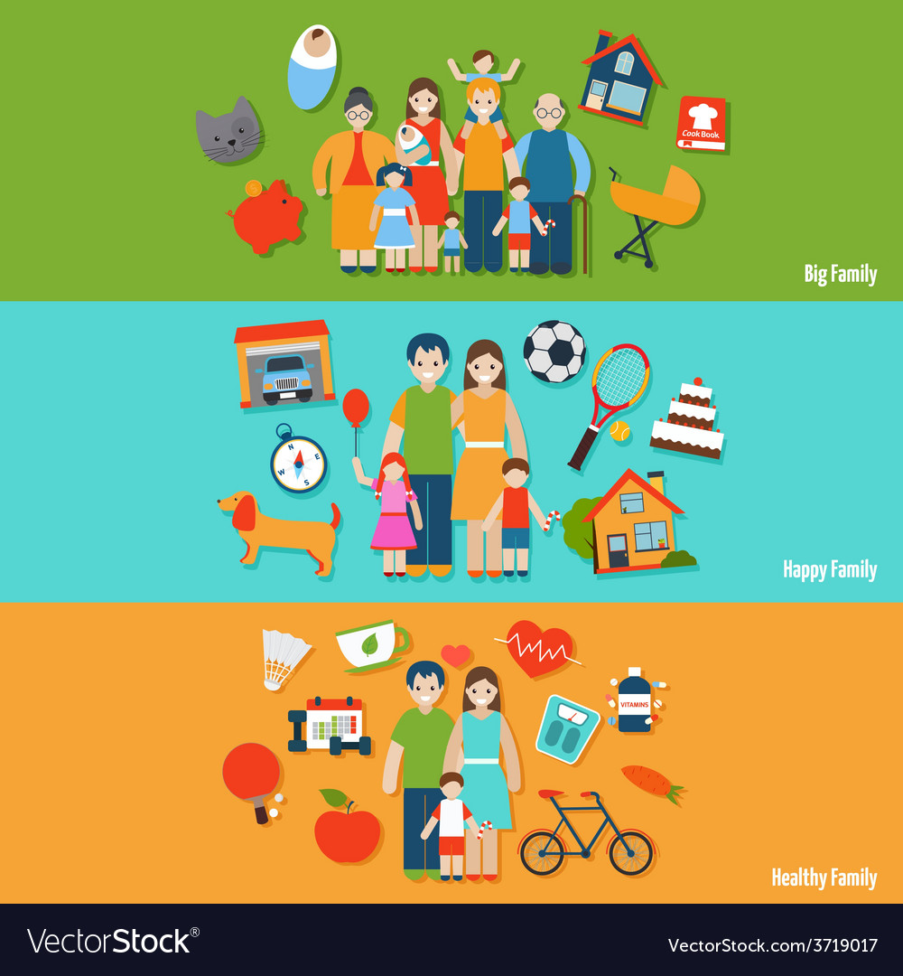 Family banner set vector | Price: 1 Credit (USD $1)