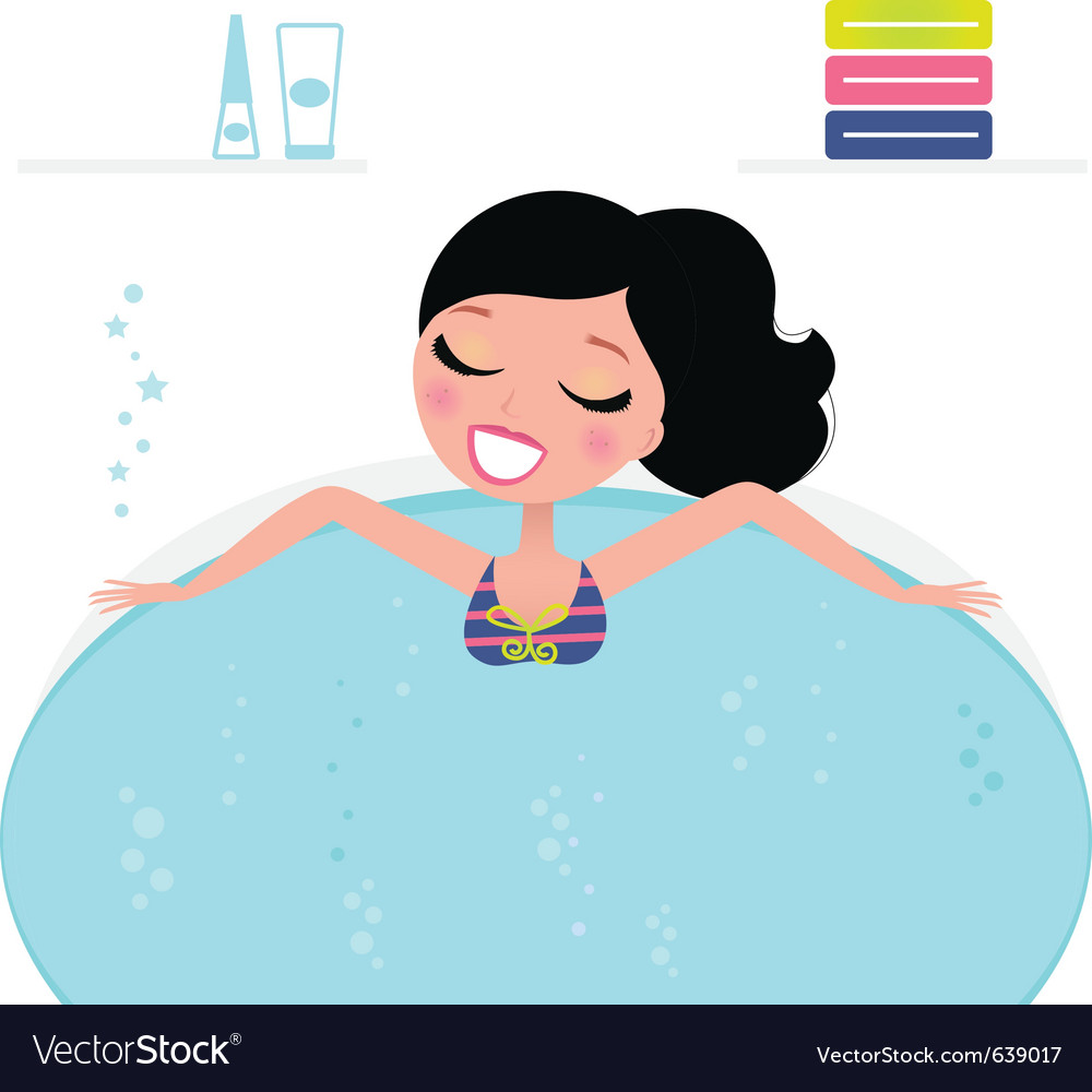 Jacuzzi cute woman vector | Price: 3 Credit (USD $3)