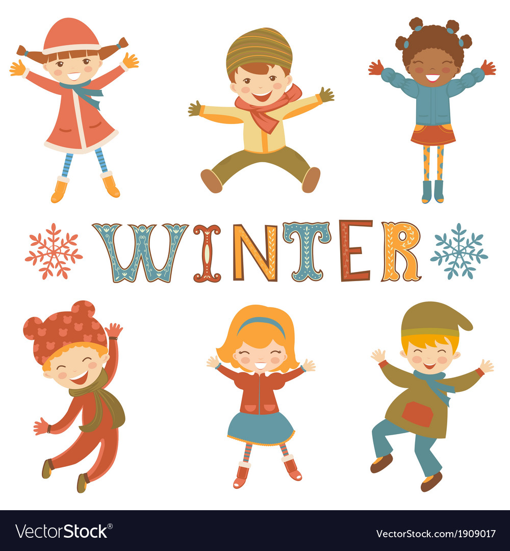 Jumping winter kids vector | Price: 1 Credit (USD $1)