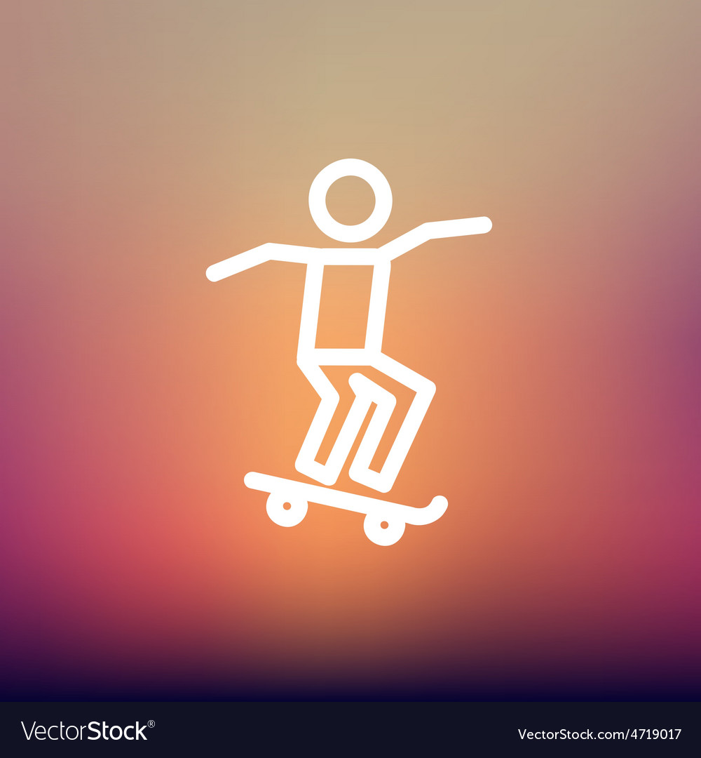 Man skateboarding thin line icon vector | Price: 1 Credit (USD $1)
