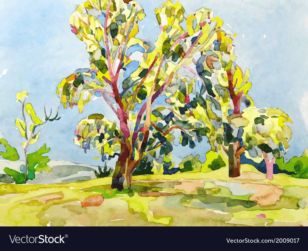 Original watercolor painting of summer tree vector | Price: 1 Credit (USD $1)