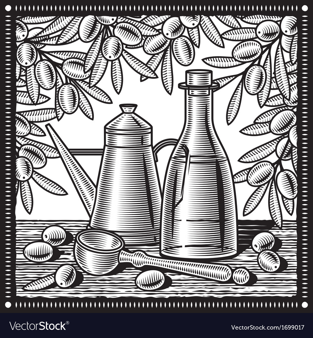 Retro olive oil still life black and white vector | Price: 1 Credit (USD $1)