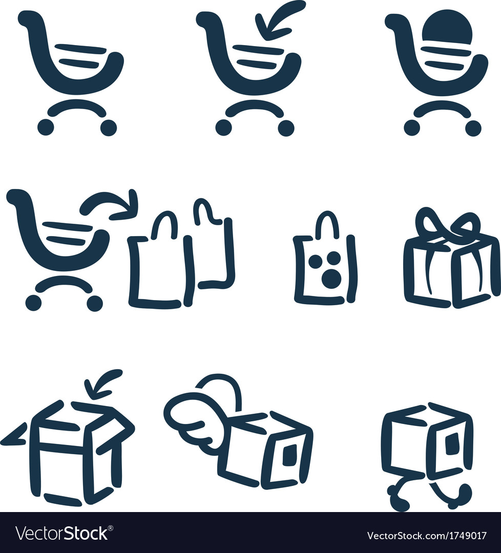 Shopping and delivery icon set vector | Price: 1 Credit (USD $1)