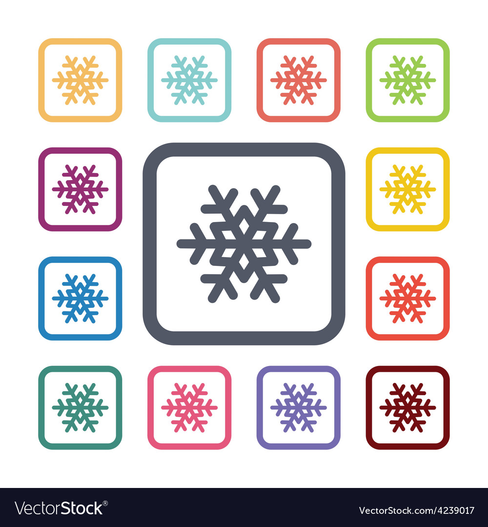 Snowflake flat icons set vector | Price: 1 Credit (USD $1)