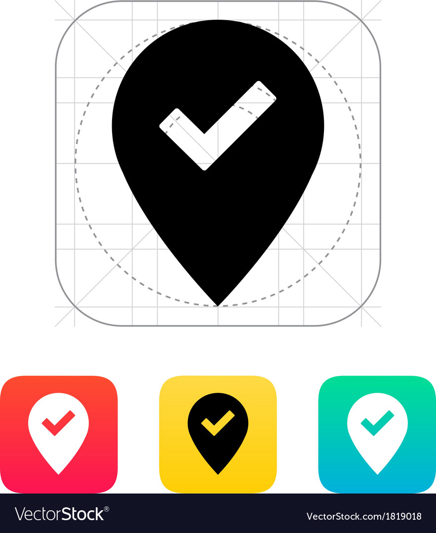 Accept map pin icon vector | Price: 1 Credit (USD $1)