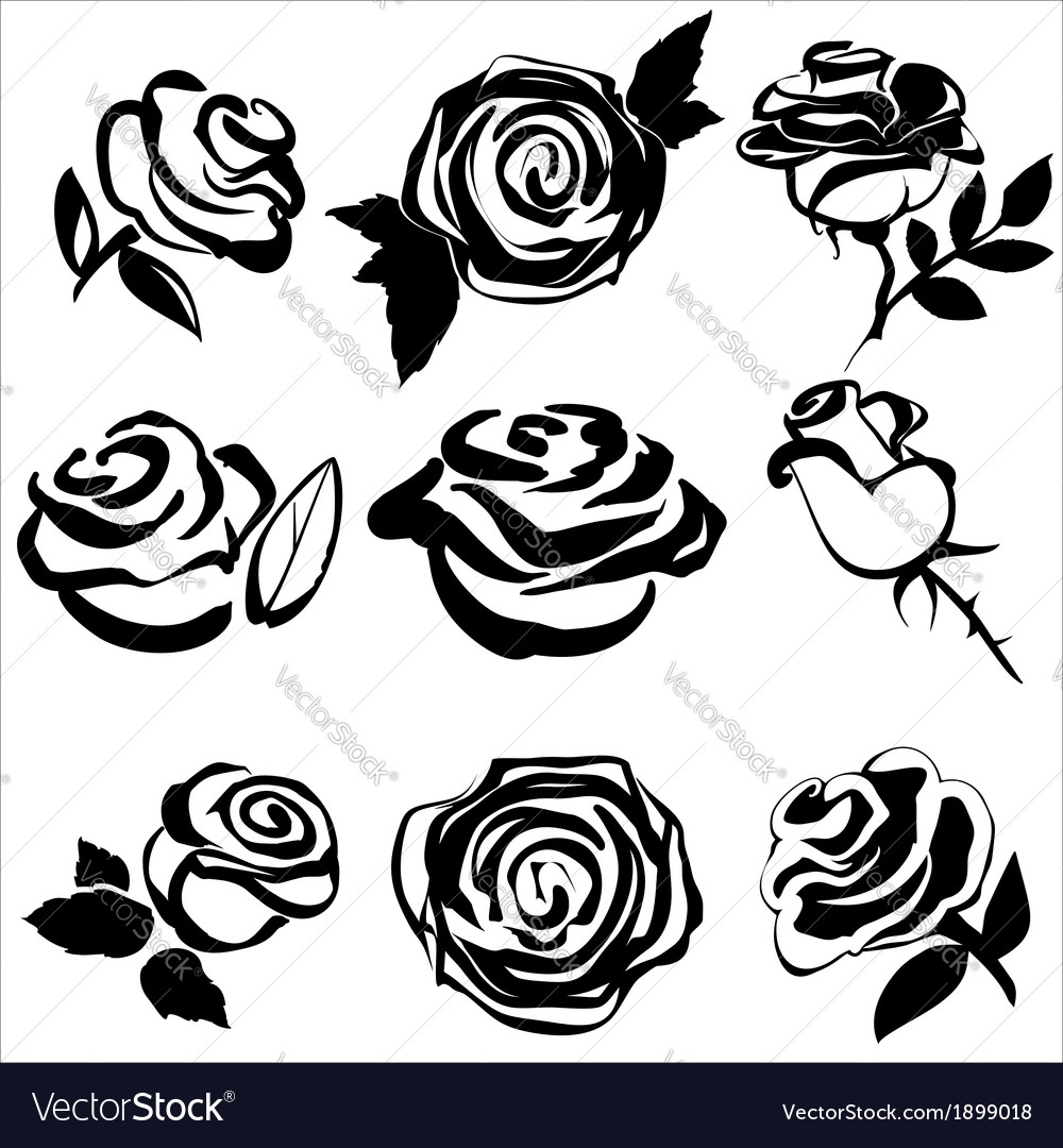 Black silhouette of rose set symbols vector | Price: 1 Credit (USD $1)