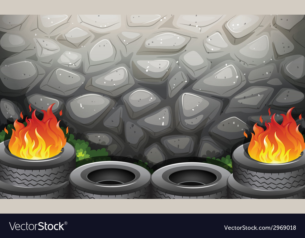 Burning tires near the stonewall vector | Price: 1 Credit (USD $1)