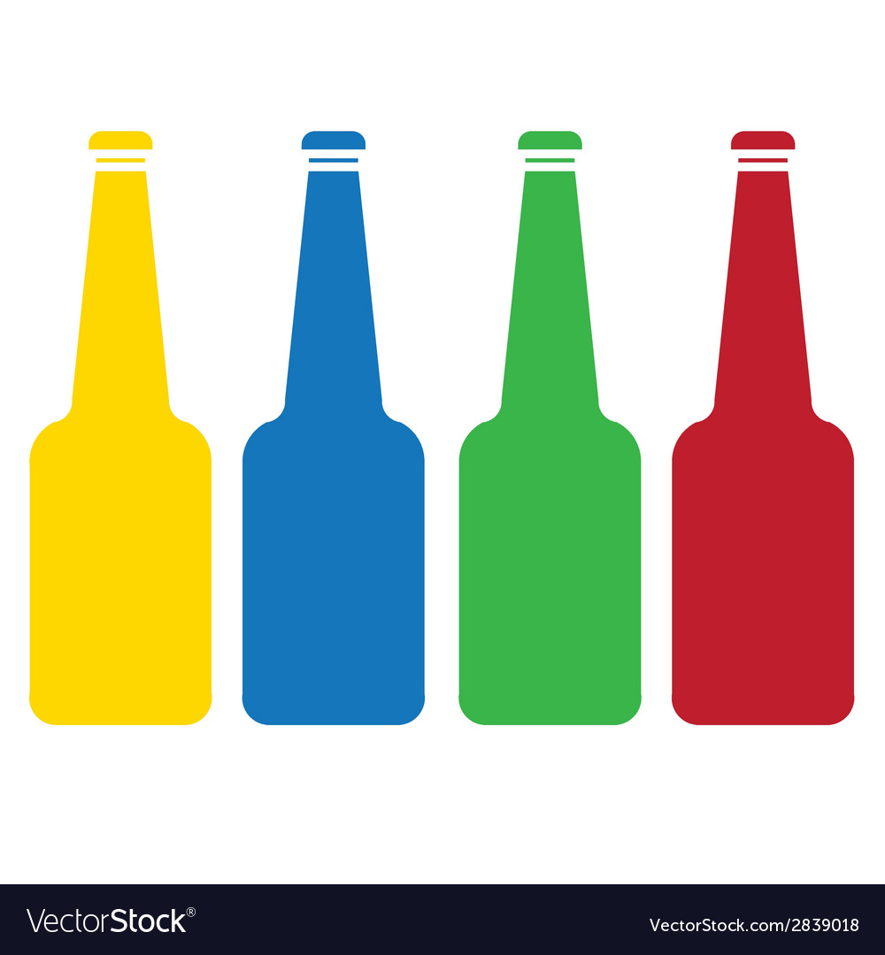 Colored glass bottle set vector | Price: 1 Credit (USD $1)