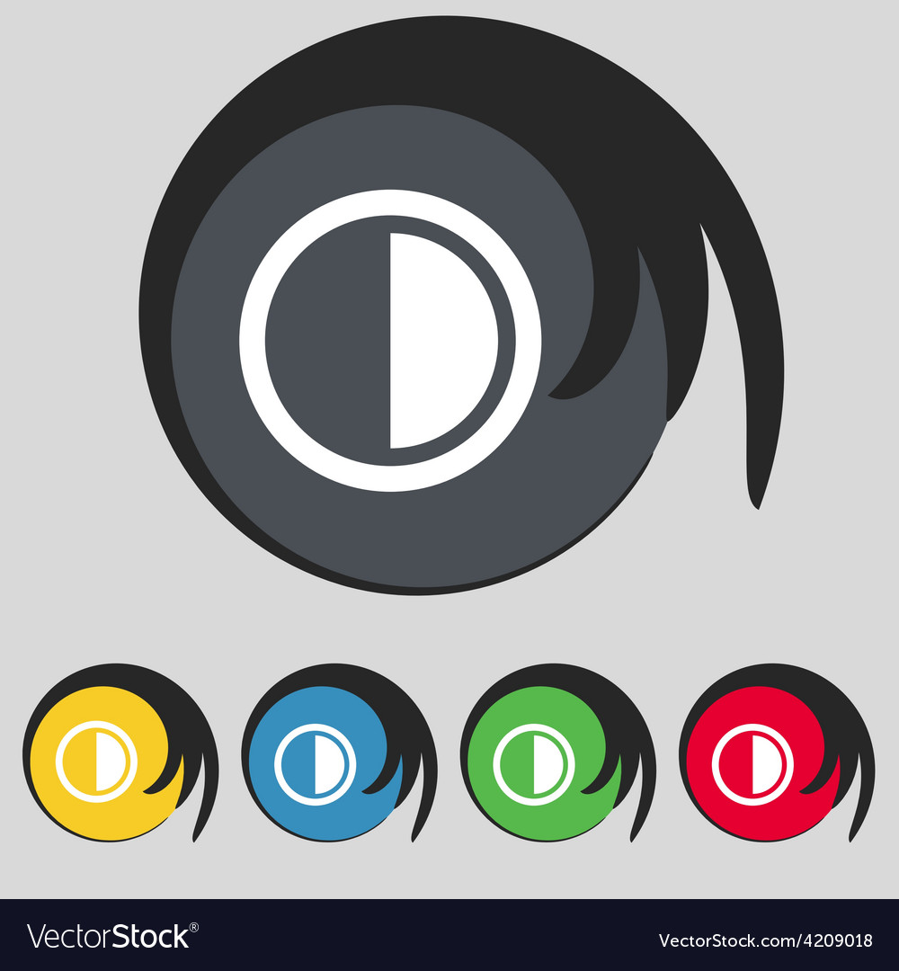 Contrast icon sign symbol on five colored buttons vector | Price: 1 Credit (USD $1)