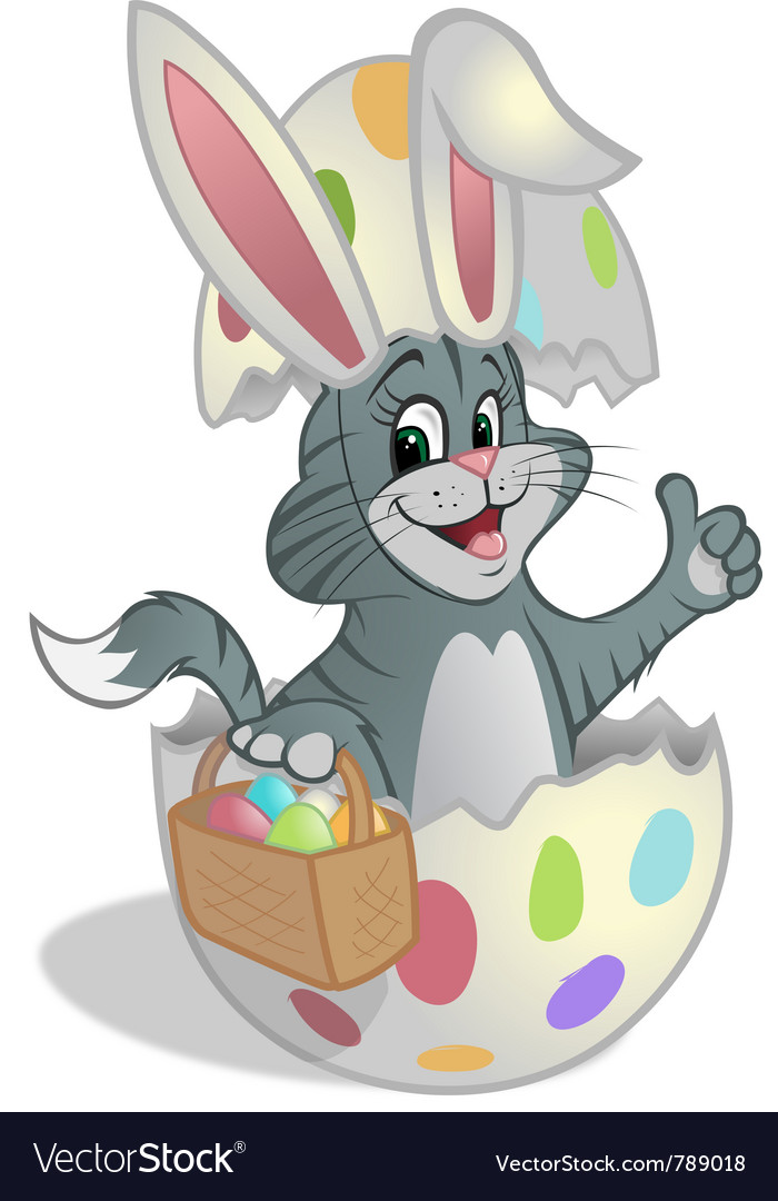 Easter kitten basket eggs vector | Price: 3 Credit (USD $3)