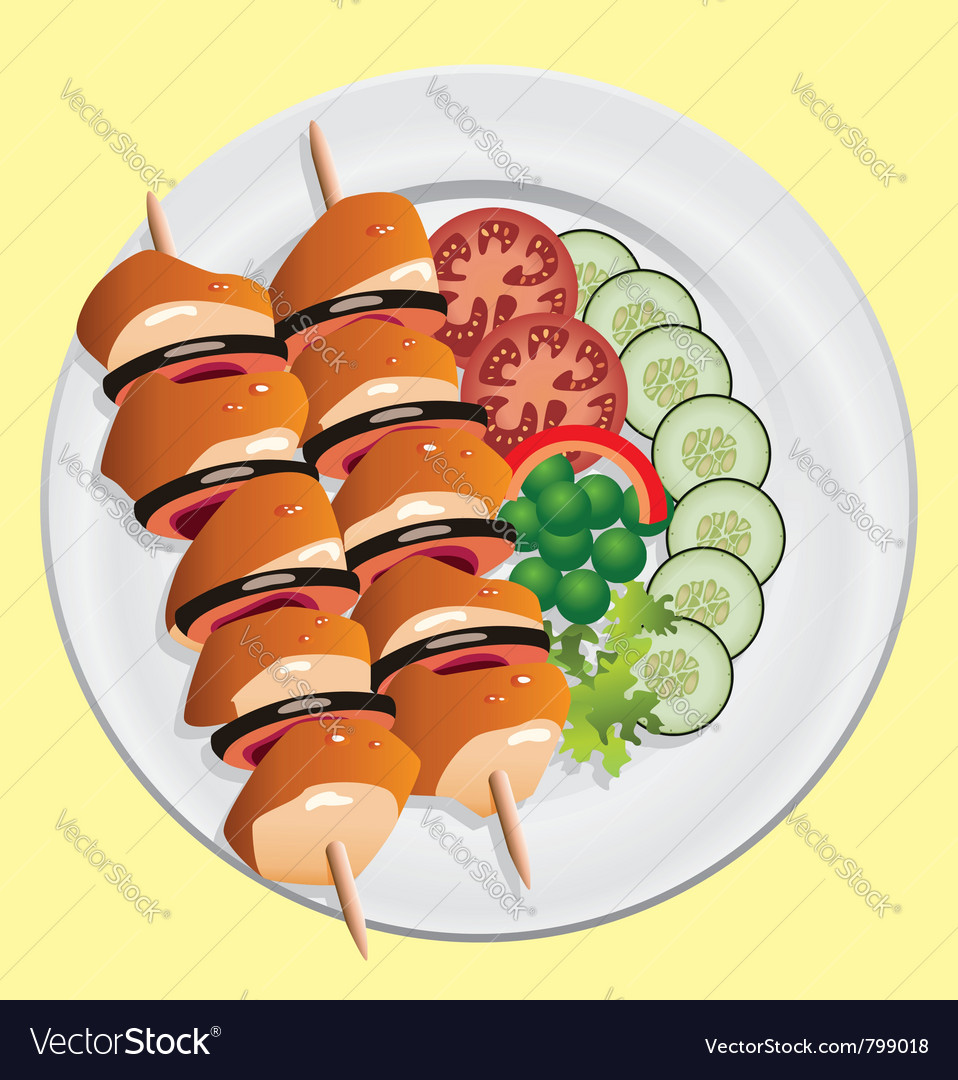 Grilled chicken and vegetables vector | Price: 1 Credit (USD $1)