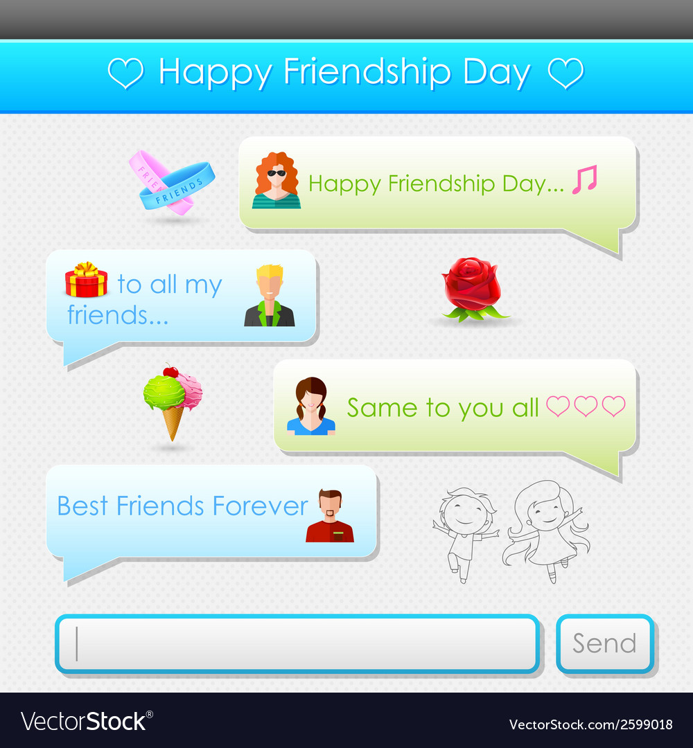 Happy friendship day message vector | Price: 1 Credit (USD $1)