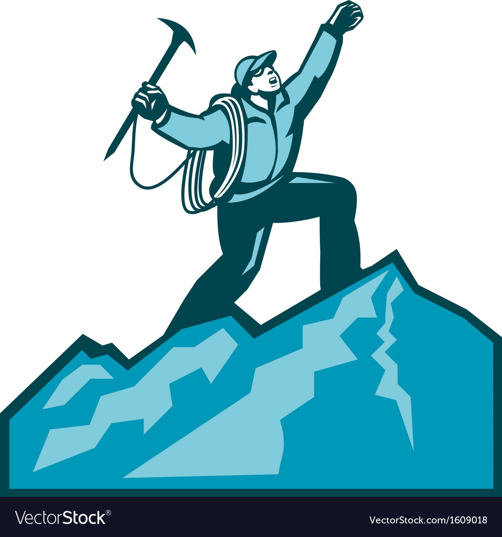 Mountain climber summit retro vector | Price: 1 Credit (USD $1)