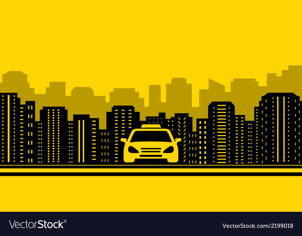 Taxi background with city landscaping vector | Price: 1 Credit (USD $1)