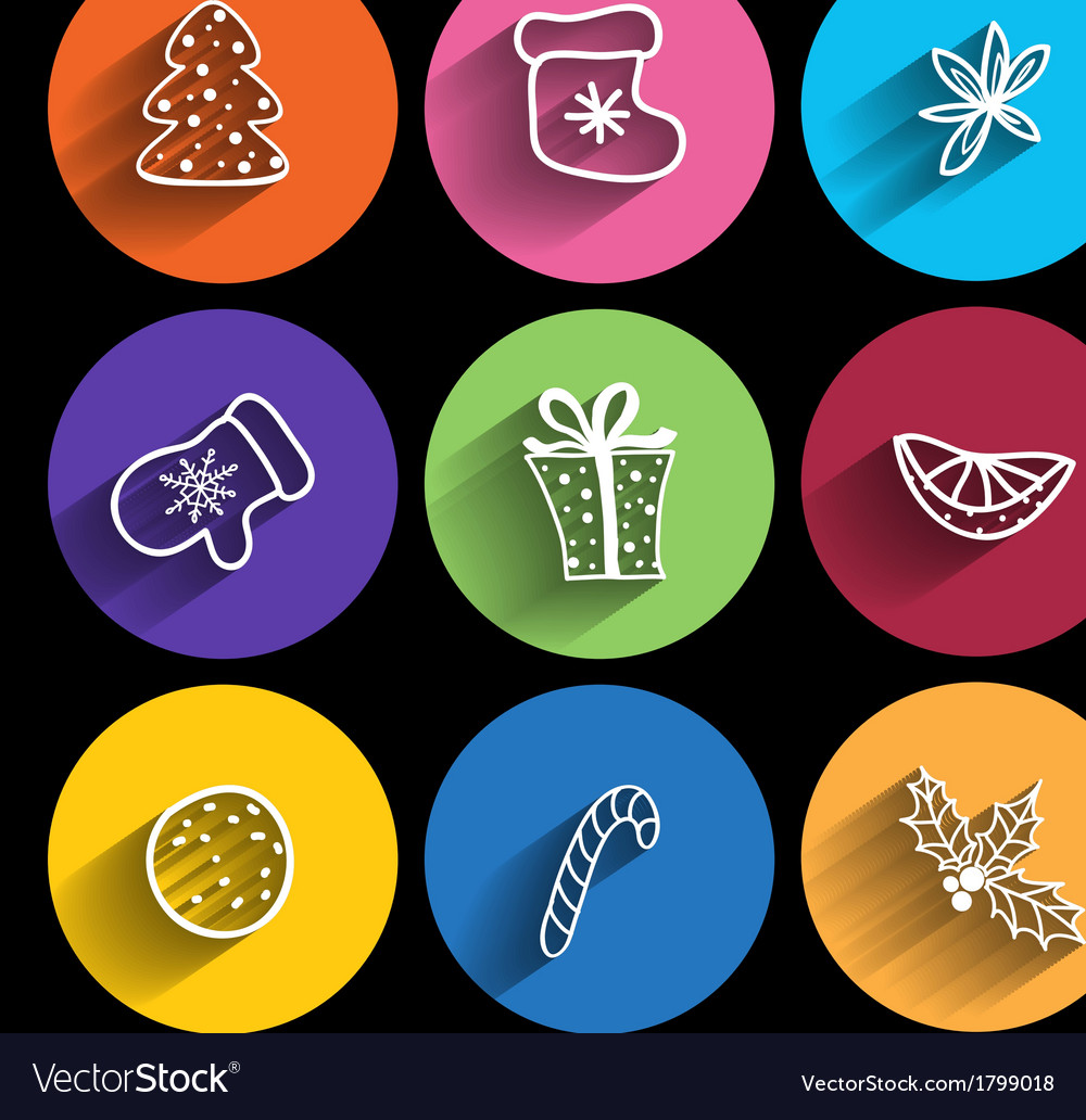 Trendy christmas icons with long shadow vector | Price: 1 Credit (USD $1)