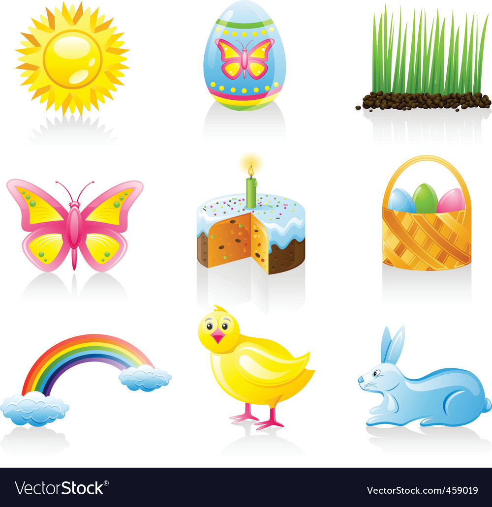 Easter icon set vector | Price: 3 Credit (USD $3)