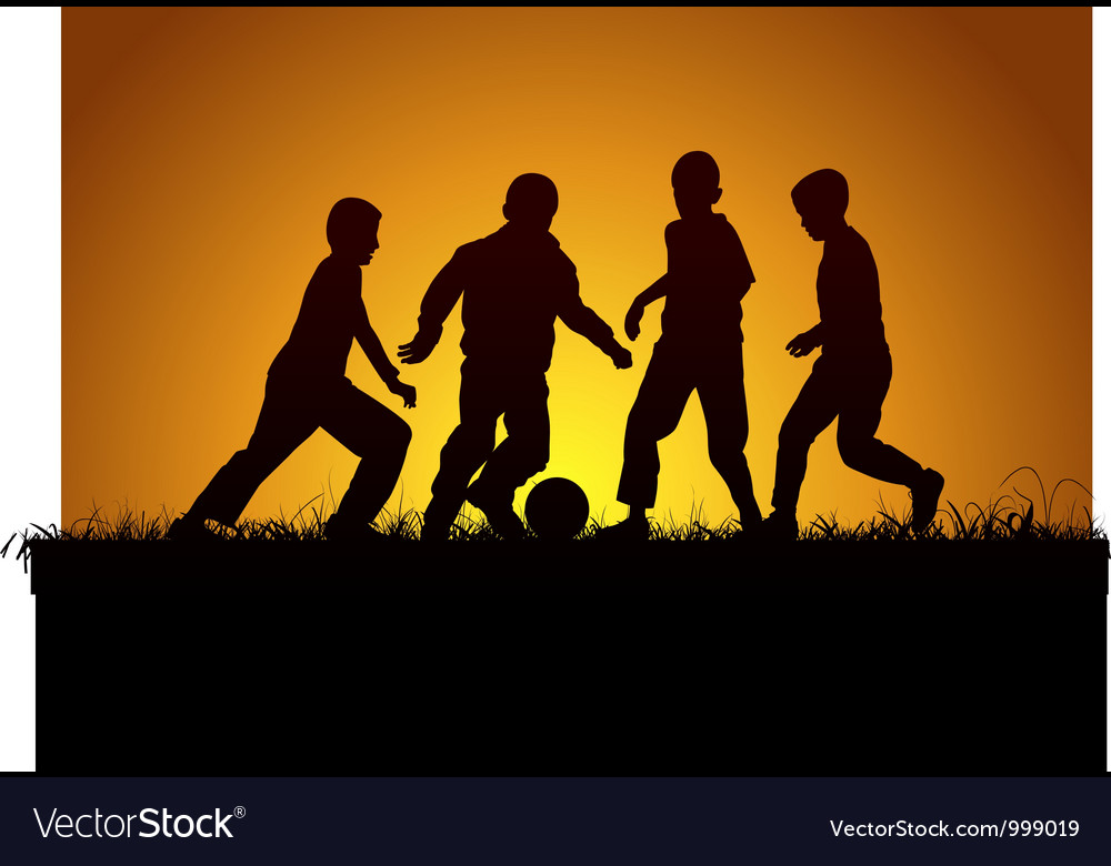 Four boys and football vector | Price: 1 Credit (USD $1)