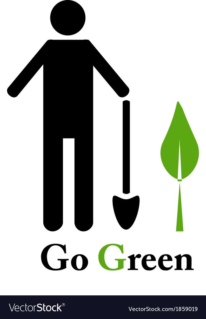 Go green emblem vector | Price: 1 Credit (USD $1)