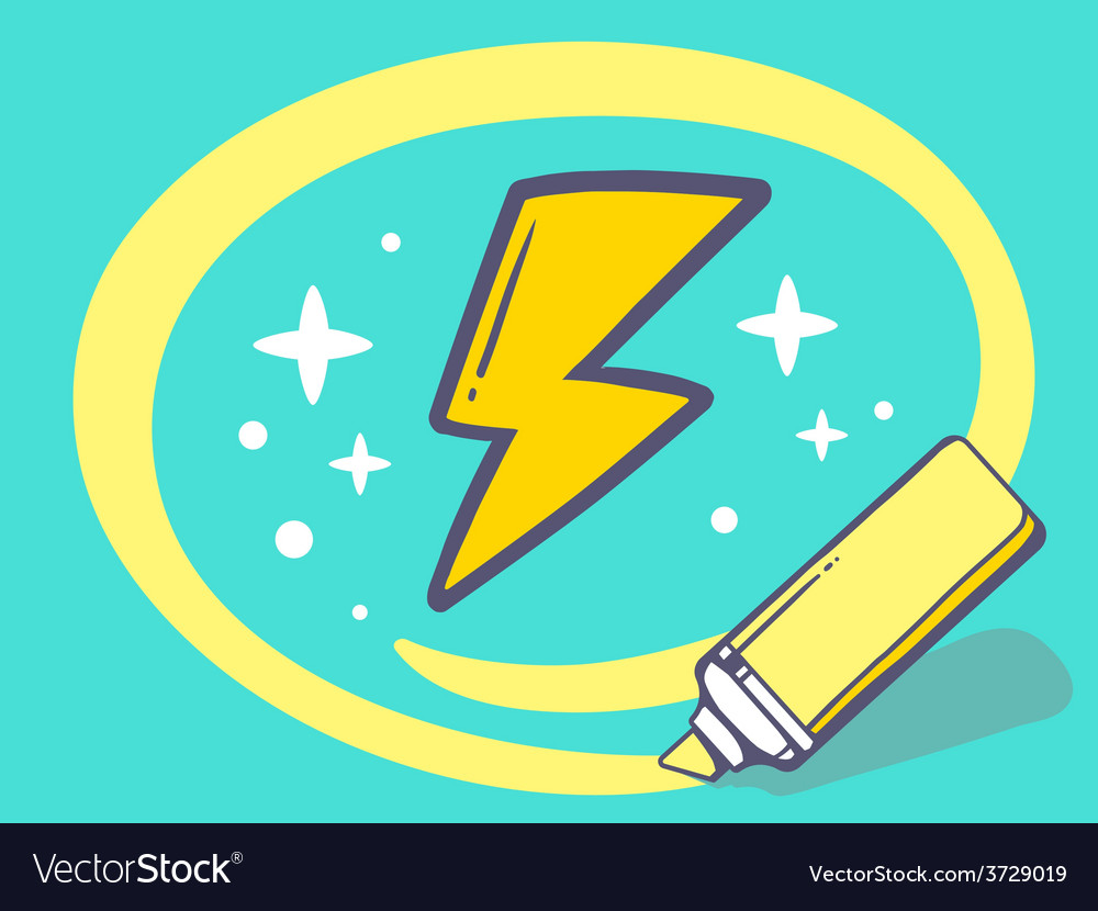 Marker drawing circle around lightning on vector   Price: 1 Credit (USD $1)