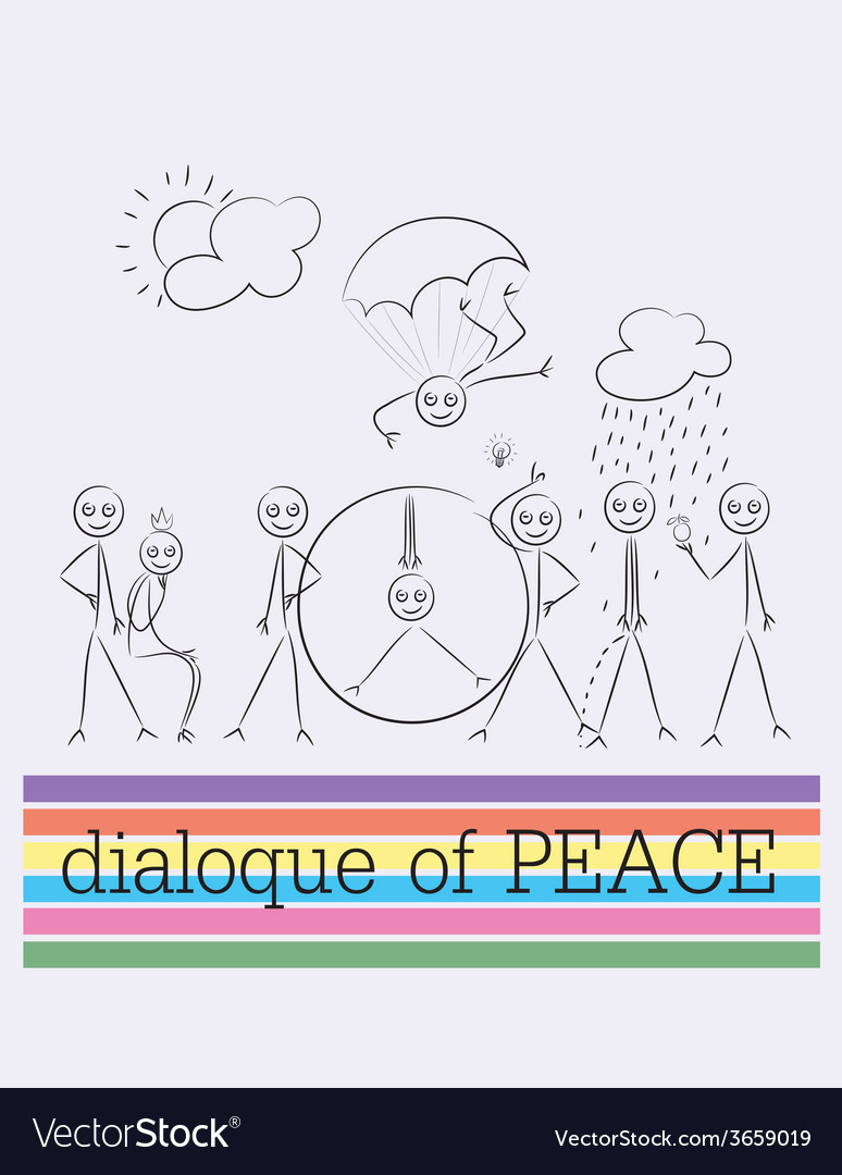 Peace dialogue cartoon vector | Price: 1 Credit (USD $1)