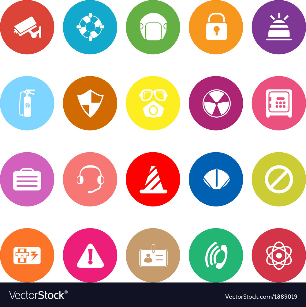 Safety flat icons on white background vector | Price: 1 Credit (USD $1)