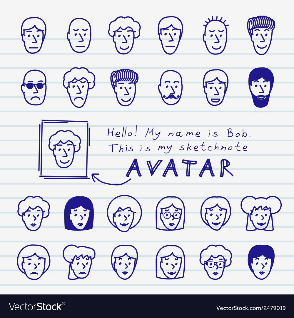 Sketchnote avatars vector | Price: 1 Credit (USD $1)