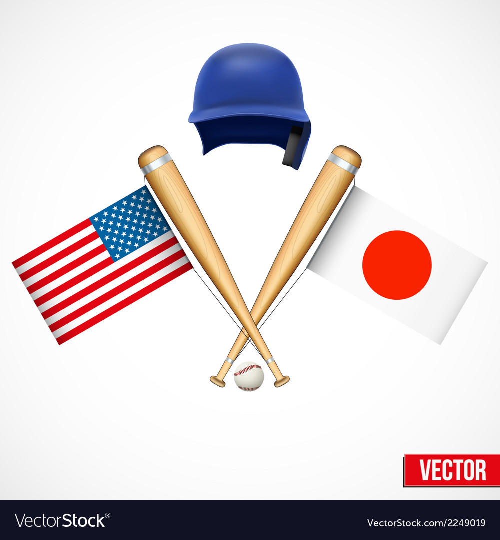 Symbols of baseball team usa and japan vector | Price: 1 Credit (USD $1)