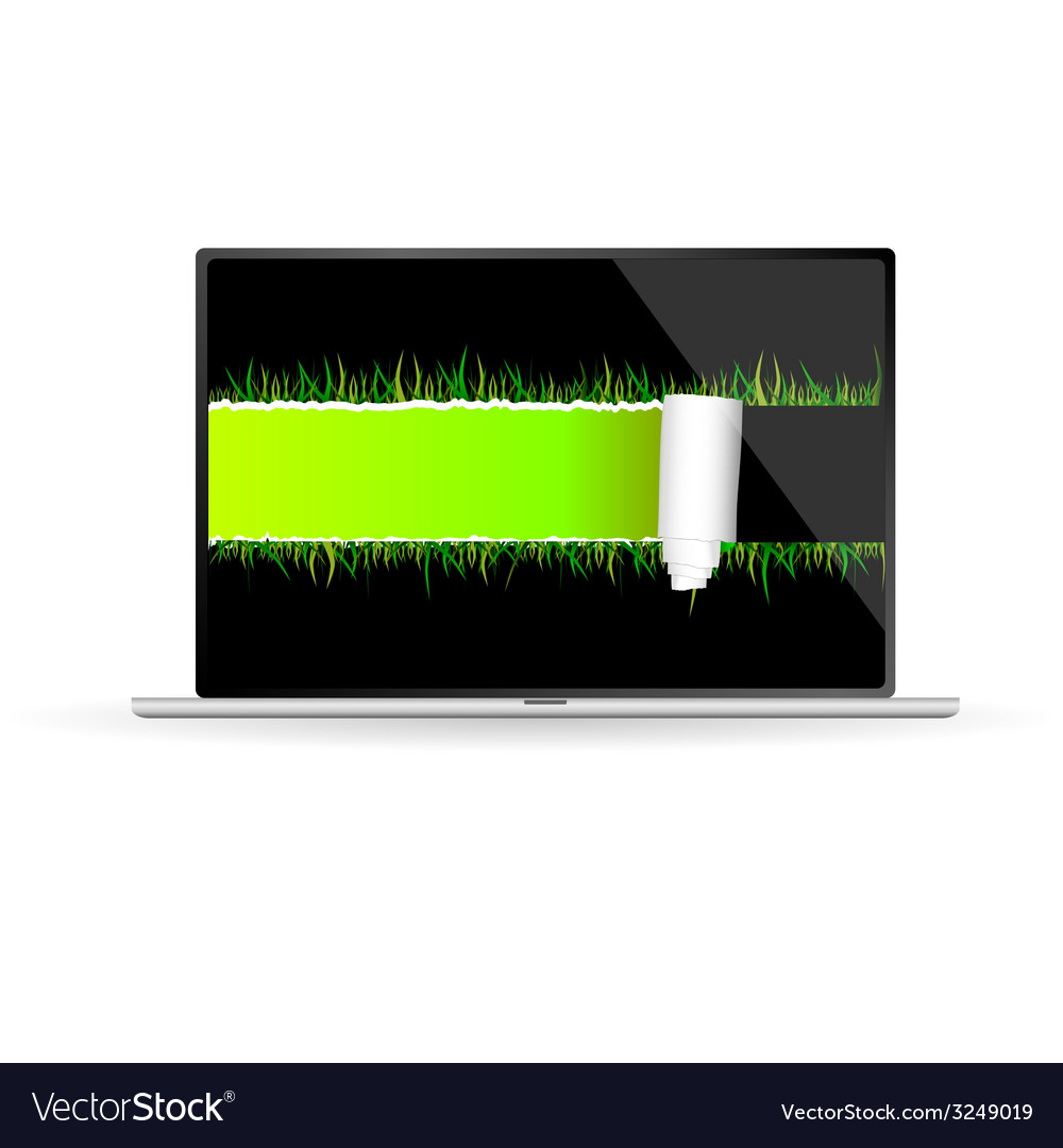 Tear paper with grass vector | Price: 1 Credit (USD $1)