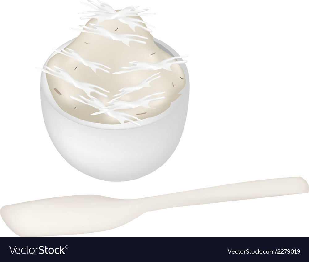 Thai dessert of banana pudding in a bowl vector | Price: 1 Credit (USD $1)
