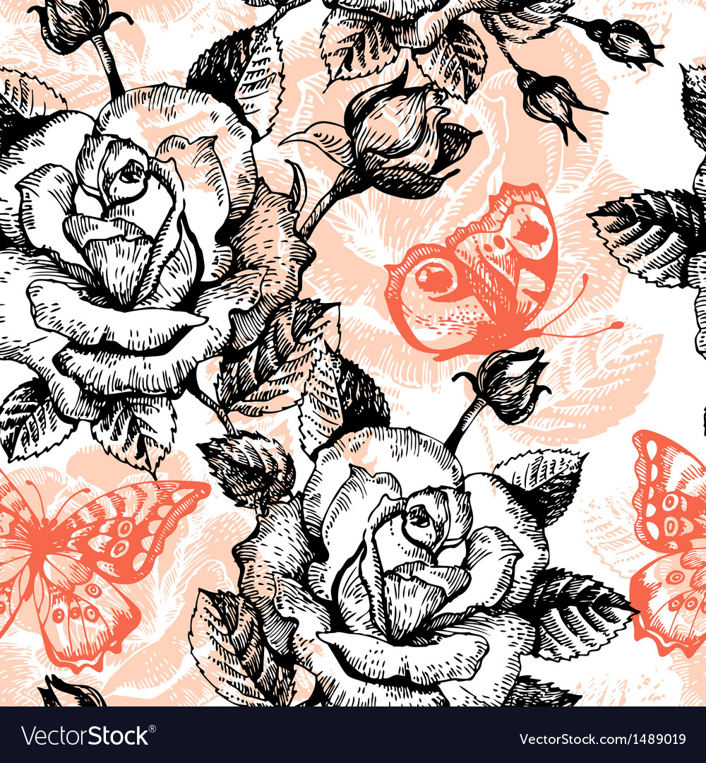 Vintage seamless floral pattern vector | Price: 1 Credit (USD $1)