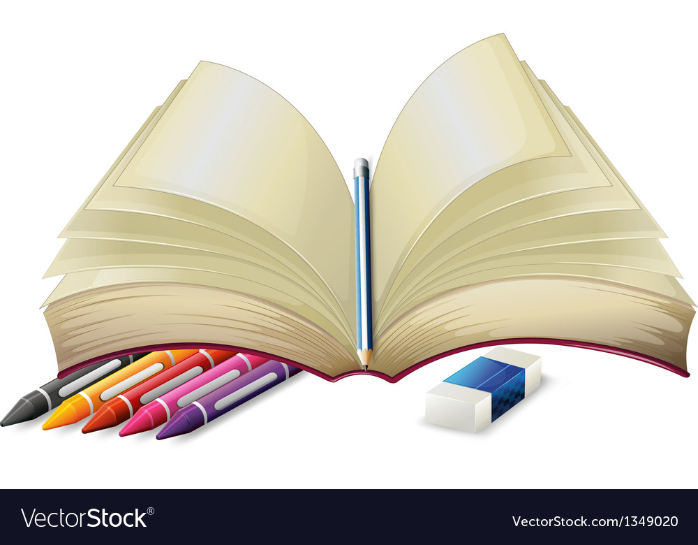A book with a pencil an eraser and crayons vector | Price: 1 Credit (USD $1)