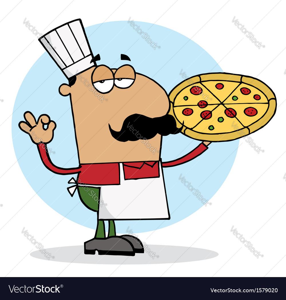 Cartoon pizza chef vector   Price: 1 Credit (USD $1)