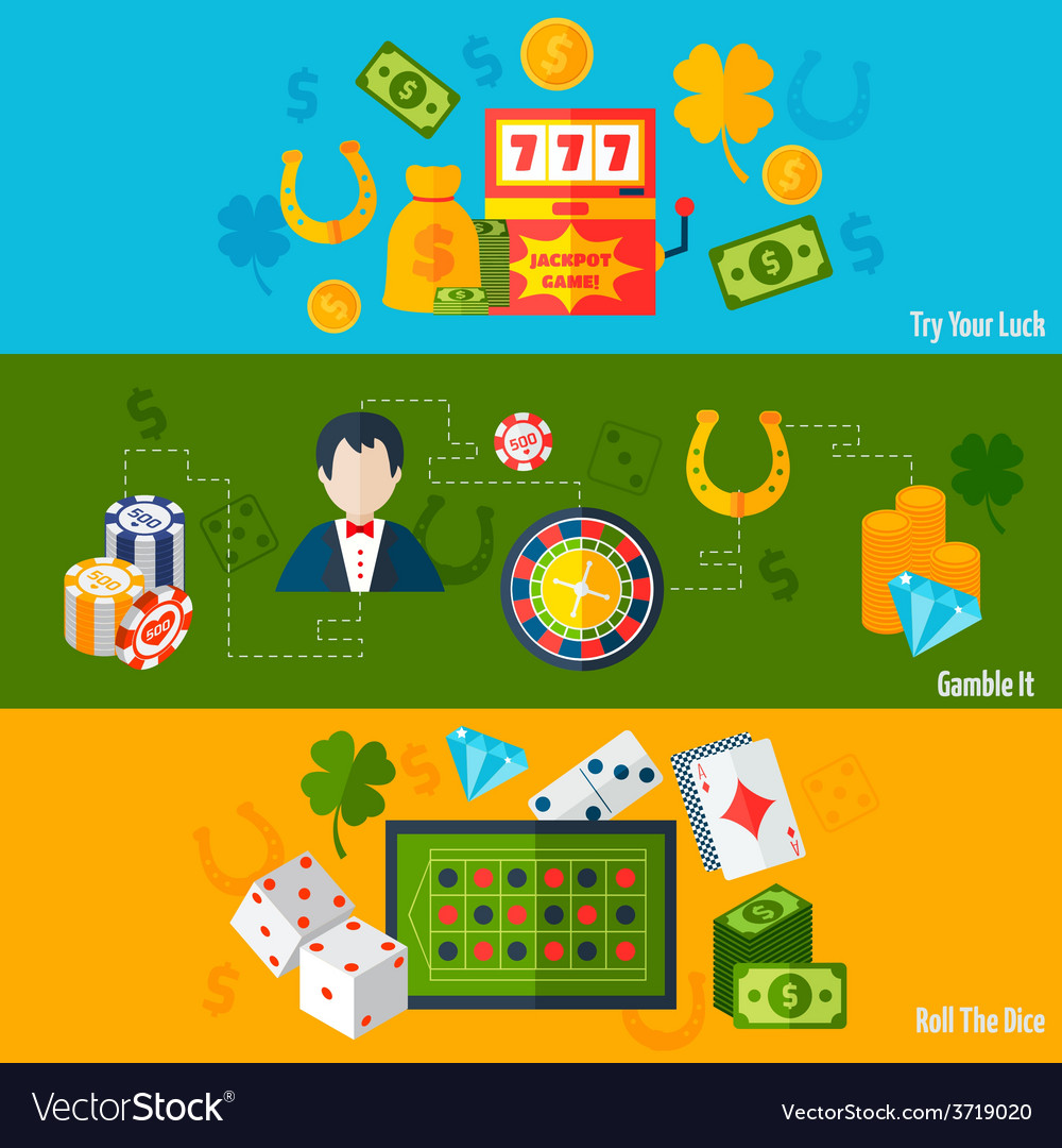 Casino flat banners vector | Price: 1 Credit (USD $1)