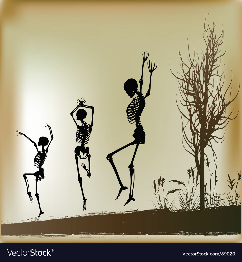 Dancing skeletons vector