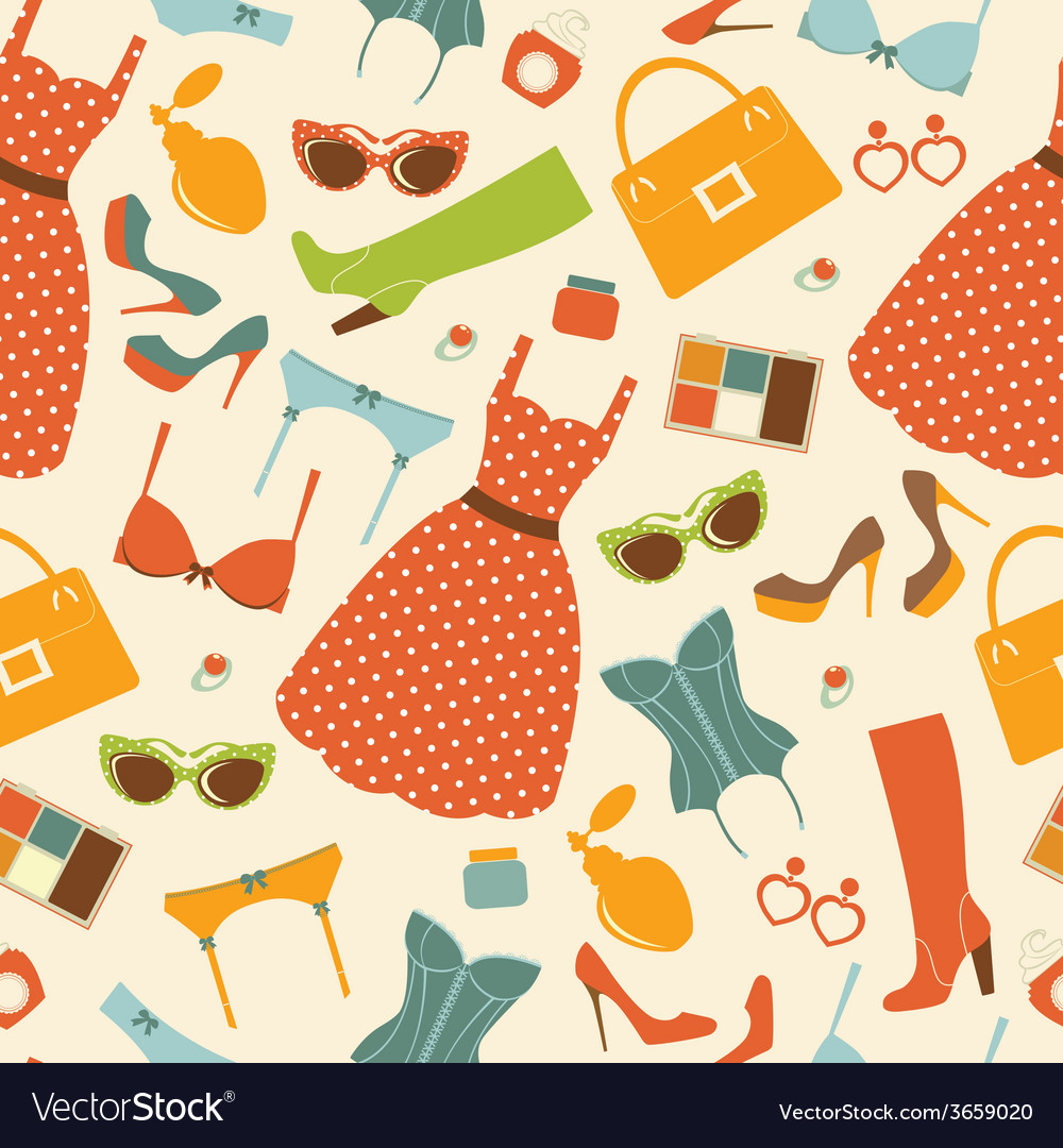 Fashion elements seamless pattern vector | Price: 1 Credit (USD $1)