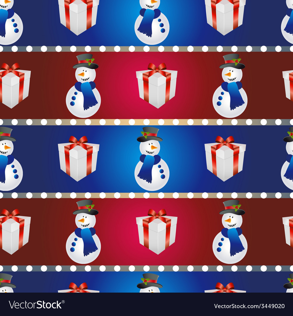 New year pattern with snowman and gift christmas vector   Price: 1 Credit (USD $1)