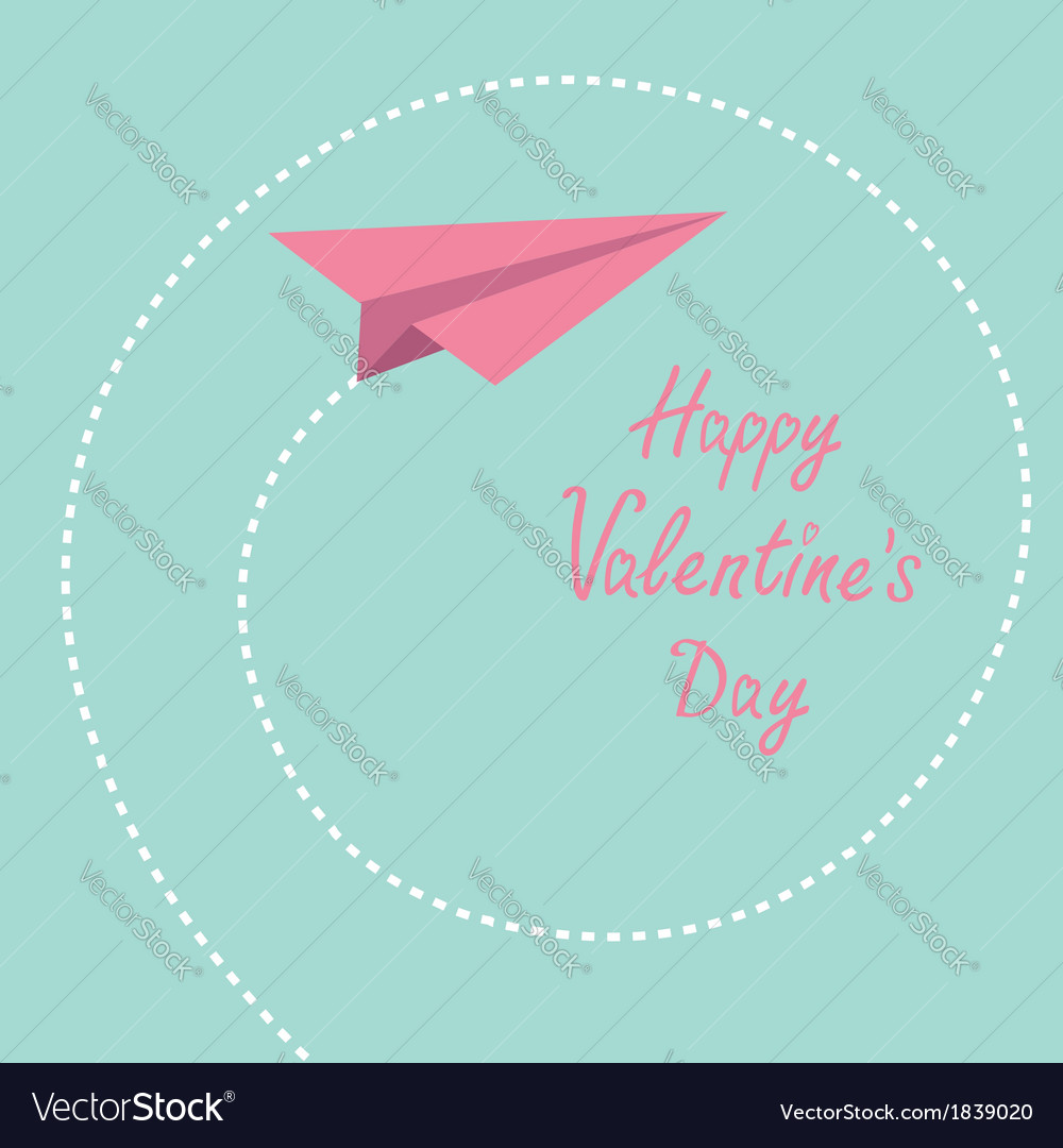 Origami paper plane dash spiral valentines day vector | Price: 1 Credit (USD $1)