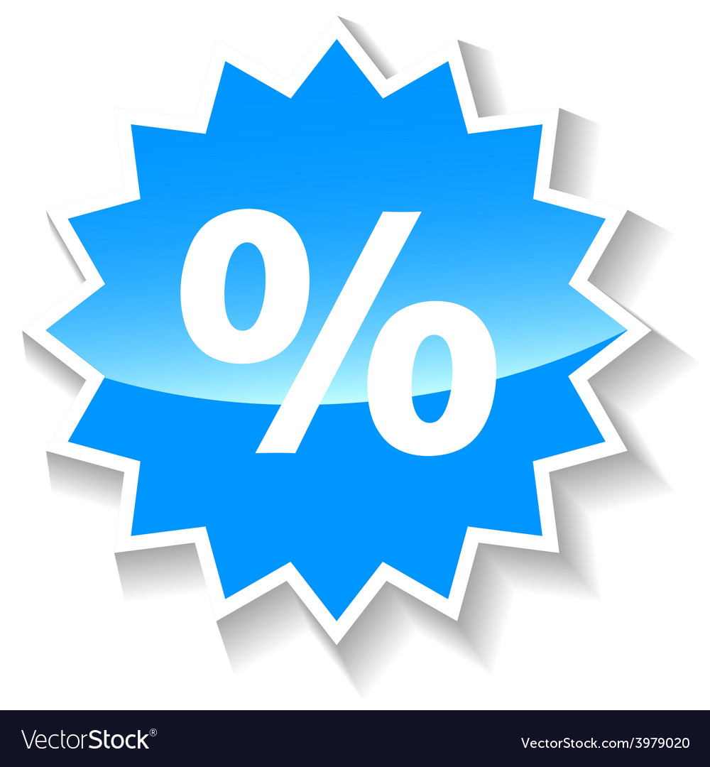 Percentage blue icon vector | Price: 1 Credit (USD $1)