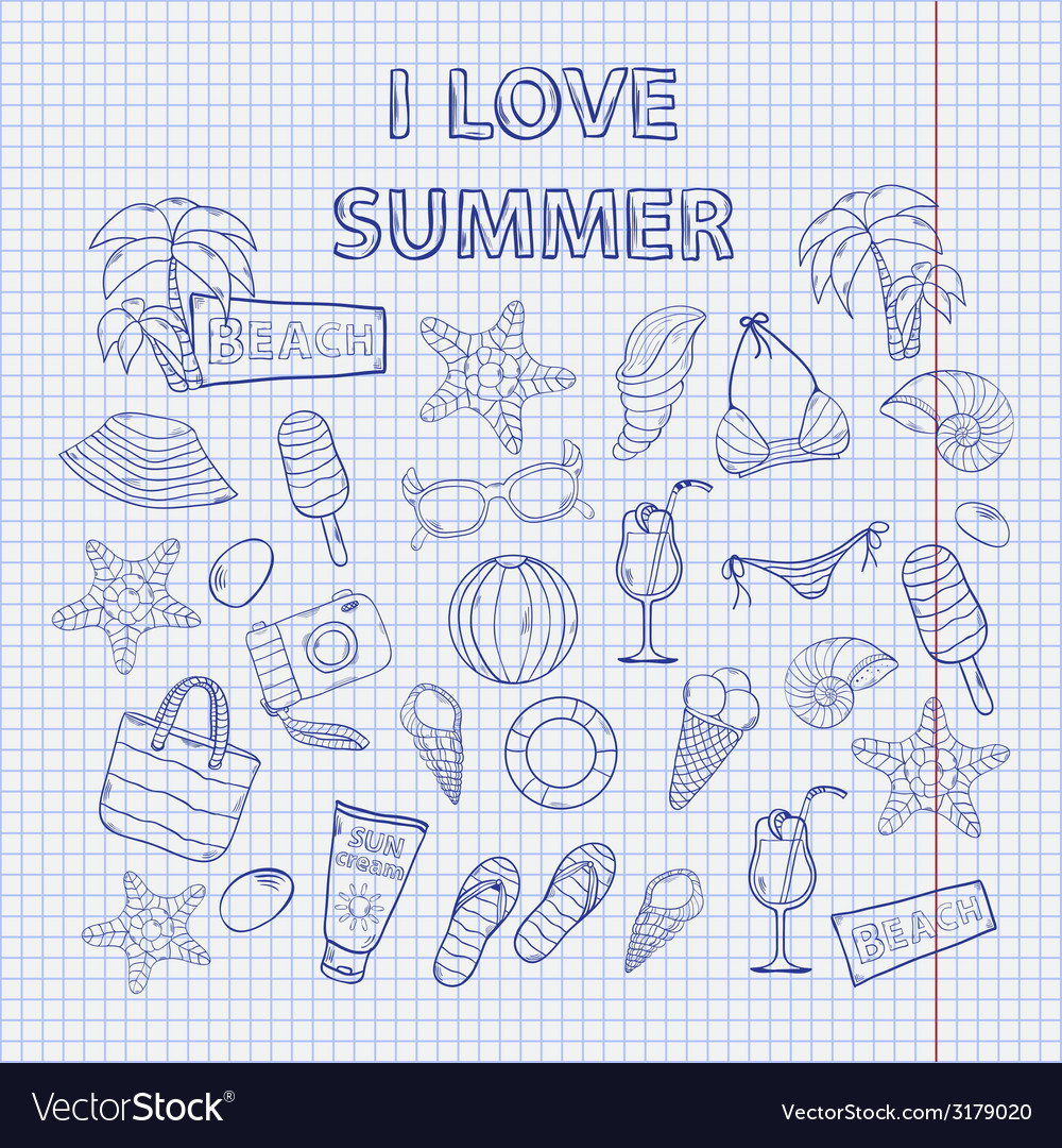 Scrap set i love summer on the notebook sheet vector | Price: 1 Credit (USD $1)