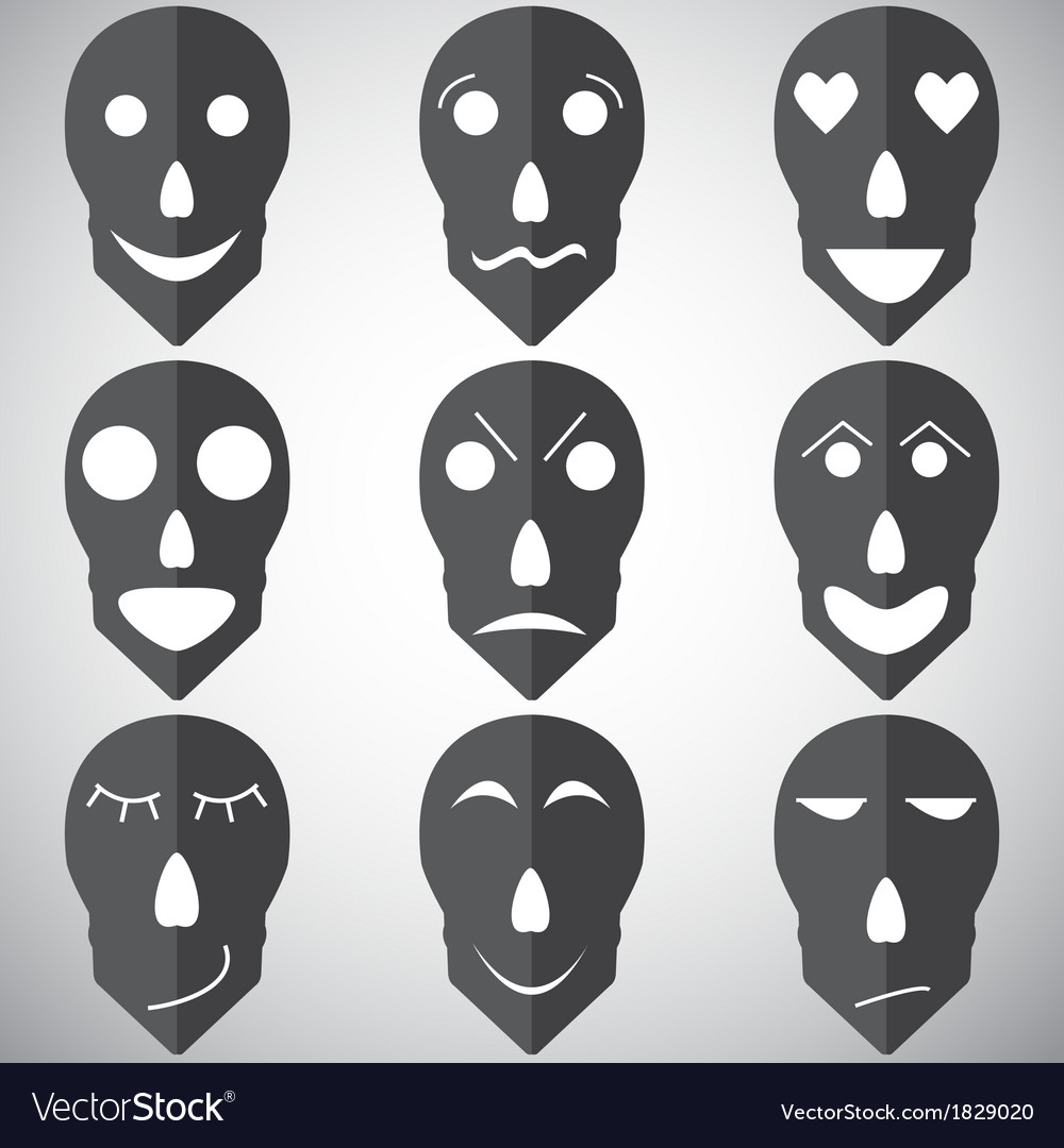 Skull mask emotion set vector | Price: 1 Credit (USD $1)