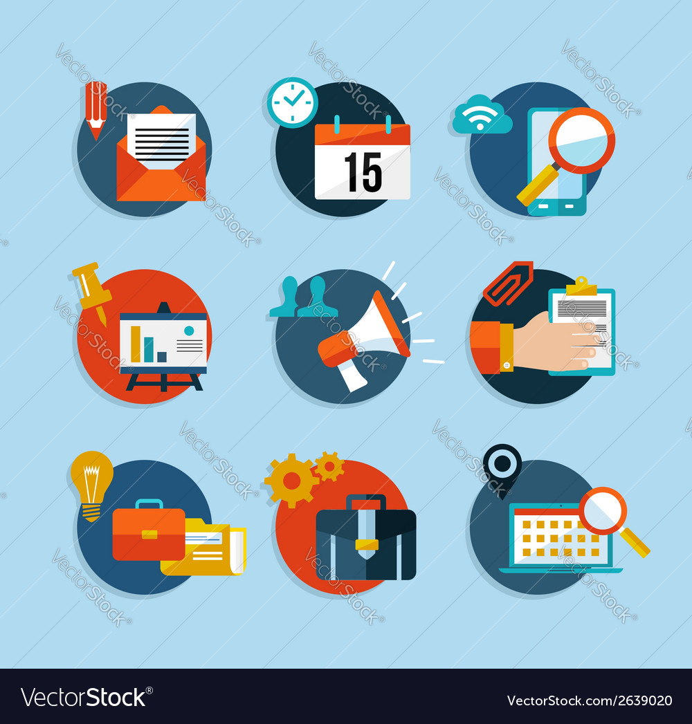 Social media network flat icons set vector
