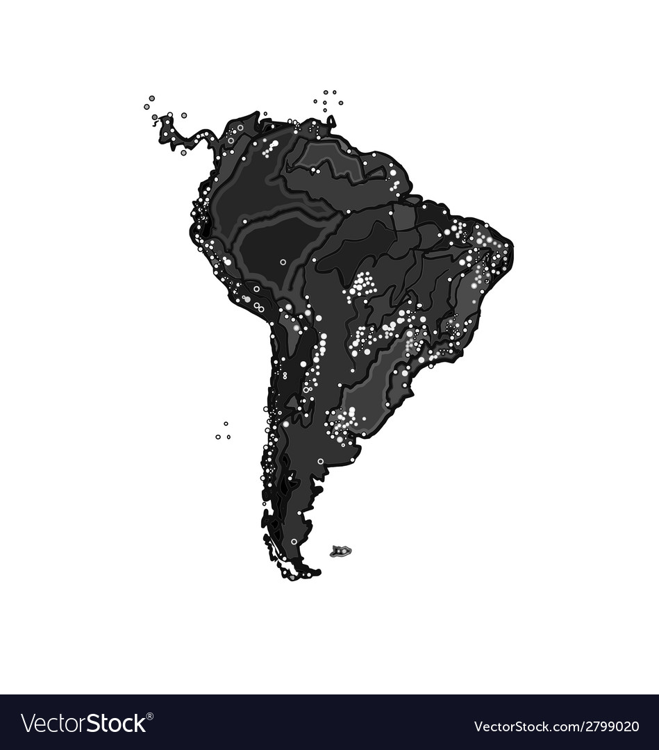 South america at night as engraving vector | Price: 1 Credit (USD $1)
