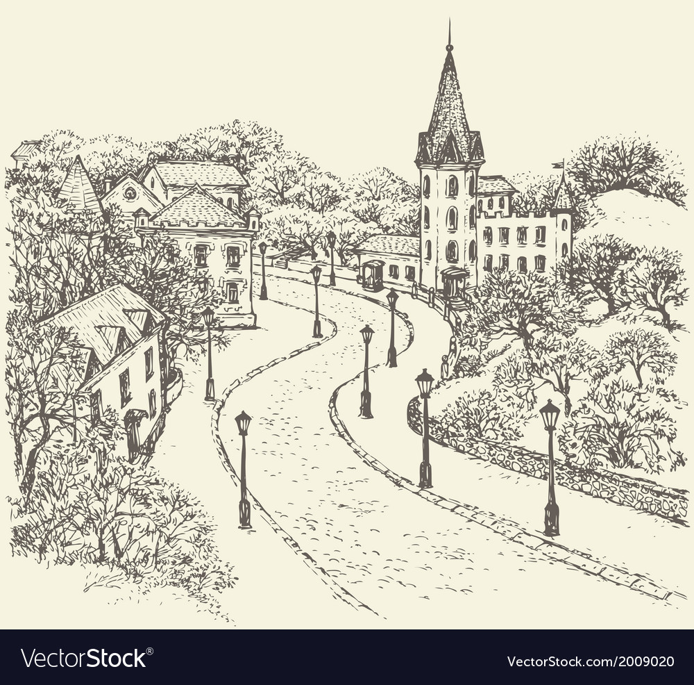 Street of the old town vector | Price: 1 Credit (USD $1)
