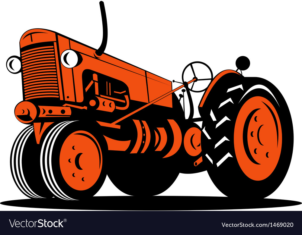 Vintage tractor on isolated background vector | Price: 1 Credit (USD $1)
