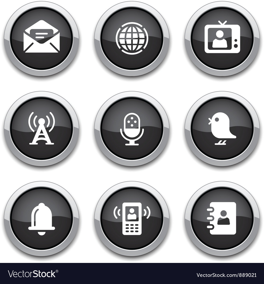 Black communication buttons vector | Price: 1 Credit (USD $1)